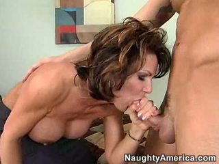 Hot momma Deauxma feeds her mouth with a juicy cock she really enjoys a lot