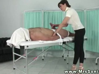 Lady Sonia manually teasing blindfolded dudes cock