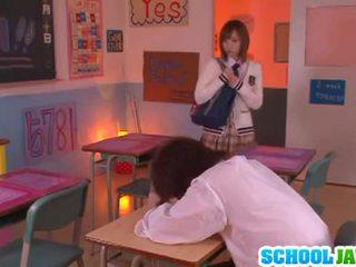 Yuu namiki sexy asian babe at school on the desk