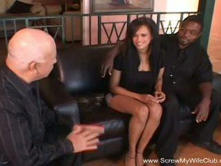 Screw My Wife Club: Ebony swinger gets fucked in front of her man
