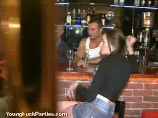 Horny Sluts Suck The Bartenders Cock