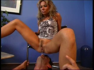 Nasty mistress makes him eat out her tampax