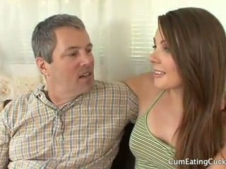 Cali gets her hubby to watch a real cock fuck her