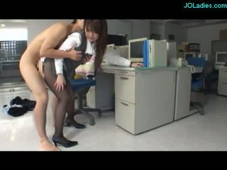 Office Lady Giving Blowjob On Her Knees Fucked In The Office