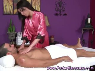 Raven babe blows her client for a happy