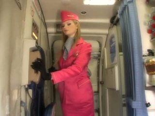 Kena blond stjuardess imemine riist onboard