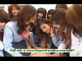 Hot japanese schoolgirls in the classroom