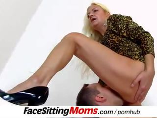 Grandma with boy dirty pussy eating feat. granny Vera