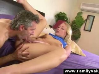 Cute blonde daughter fingering her pussy and fucked by older guy