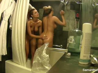 Lesbian shower fun with Samantha and Jayden