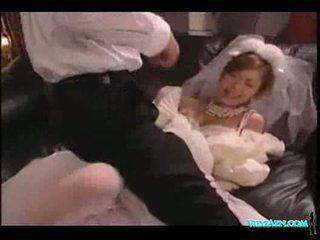Asian girl in wedding dress licked sucking cock fucked cum t