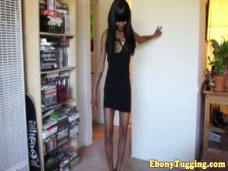 Tugging ebony teen shows off her petite body
