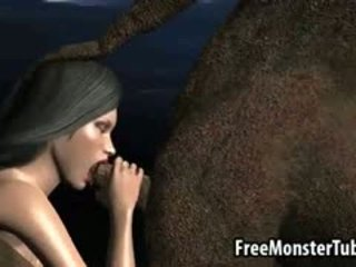 3D Babe Gets Fucked On The Moon By An Alien Monster