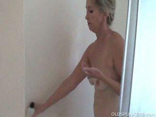 granny, shower, masturbation