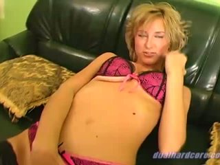 Handsome blonde in fishnet stockings gets double drilled