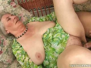 Very old busty granny enjoying hot sex