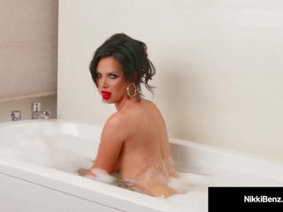 Penthouse pet nikki benz washes her big susu in a soapy