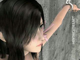 Busty 3D Hentai Minx Showing Pink Twat