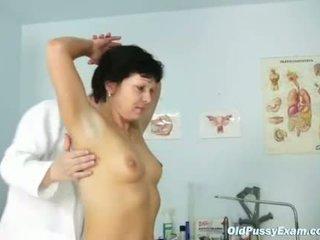 Mature woman Eva visits gyno doctor to get gyno ex