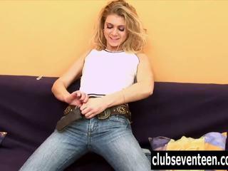 Blonde teen Megan masturbating hairy twat