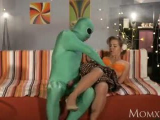 Mom Lonely Housewife Gets Deep Probe From Alien on Halloween Video