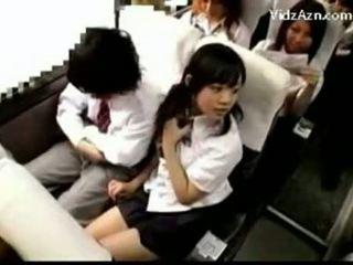 Asian Girl Jerks Off A Boy In Schoolbus