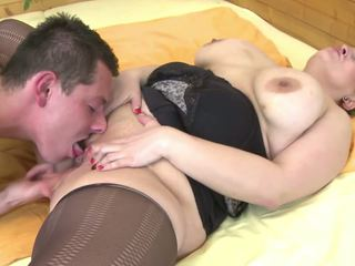 Mom with Big Saggy Tits Fucked by Young Not Her Son.