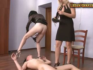 Guy Brutal dominated by two mistresses