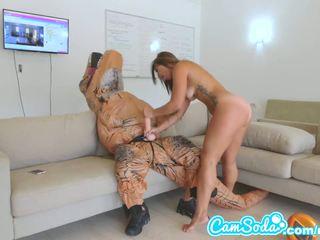 brunette, nice vaginal masturbation, you strap on see