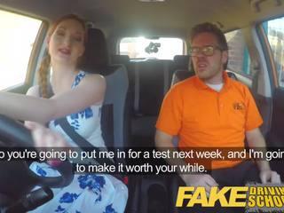 Fake Driving School Posh Freaky Redhead with Ginger Bush