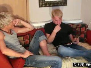 Two hot blonde gay guys sucking cock