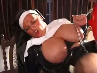 bröst, enormt, nun