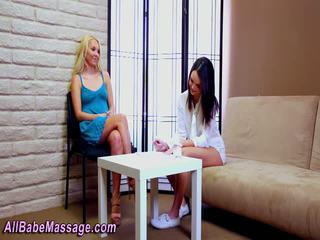 Babe gets lesbian massage