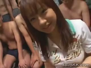 Beautiful Petite Schoolgirl Pleases Bunch Of Japanese Men