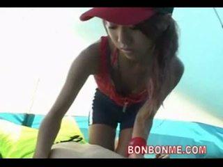 Beauty beach lifeguard do a blowjob and handjob