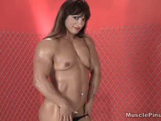 brunette, vaginal masturbation, solo girl, muscular