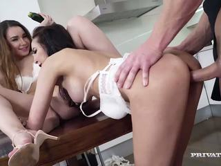 Stacy Snake and Francys Belle Share an Anal Creampie.
