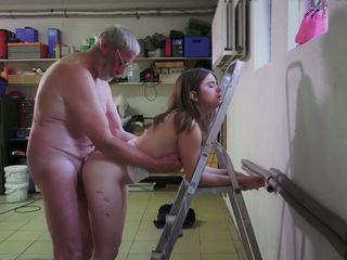 Slutty Maid Fucking Porn Addict Grandpa gets Mouth...