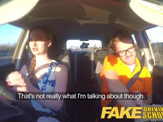 Fake Driving School Posh Freaky Redhead with Ginger Bush
