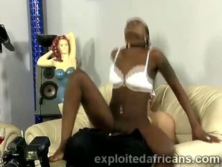 Slim African teen with hot booty mounts mature white perv