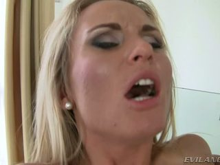 Dirty Whore Laura Crystal Takes Two Dicks In Her Tight Holes