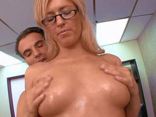 جنس في مكتب مع أقرن شقراء, حر عالية الوضوح الاباحية 45