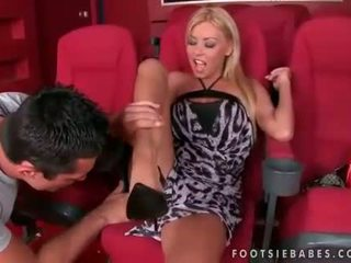Nikky Blond enjoying footsex in cinema