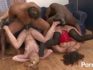 امرأة سمراء, groupsex, اللعب