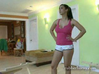 brunette, bubble, teasing
