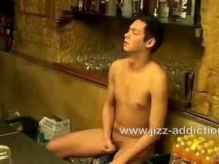 Horny bartender Cristian jerks his cock