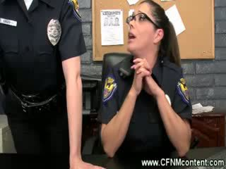 The police frisk them for Rough dongs to suck on at the station