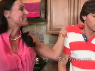 Mom interrupts two teens fucking in the kitchen and she wants some action