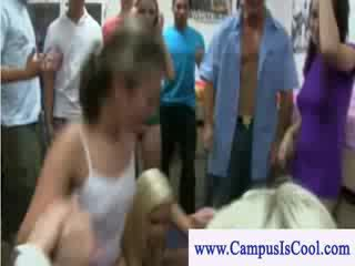 Undressing tease and sex on pus dormatory party