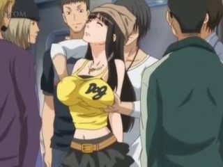 Busty anime sex slave gets nipples pinched in public